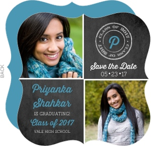 Chalkboard Photo Grid Graduation Announcement