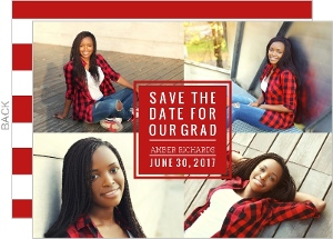 Red Photo Block Graduation Save the Date Announcement