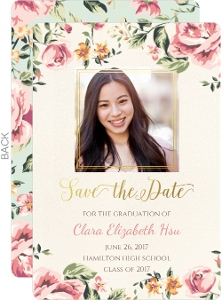 Pink Floral Graduation Announcement