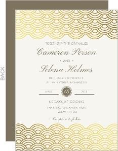 Gold Foil Scallop Pattern Wedding Invitation
