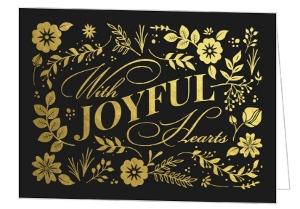 Joyful Hearts Gold Foil Wedding Invitation