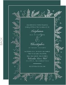 Elegant Foil Foliage Frame Wedding Invitation