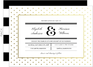 Gold Foil Polka Dot Frame Wedding Invitation