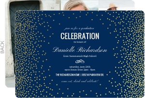 Gold Confetti Foil Decor Graduation Invitation