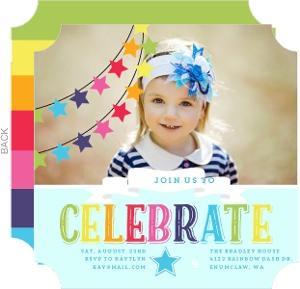 Colorful Rainbow Celebrations Kids Birthday Invitation