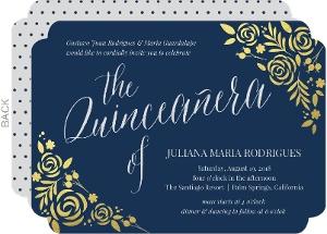 Blue Cabernet Gold Foil Floral Quinceanera Invitation