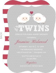 Baby Sheep Twins Baby Shower Invitation