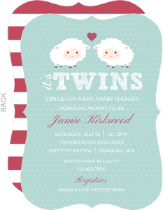 Baby Sheep Twins Baby Shower Invitation