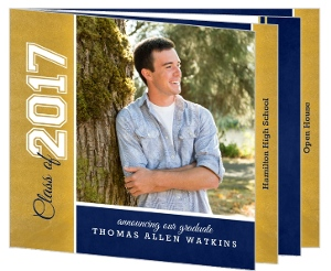 Faux Gold Foil and Navy Graduation Announcement