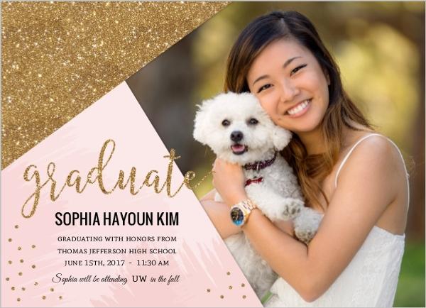 Pink Faux Gold Glitter Graduation Announcement Graduation
