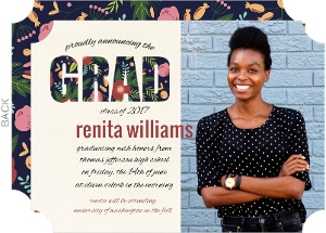 Floral Garden Pattern Graduation Announcement