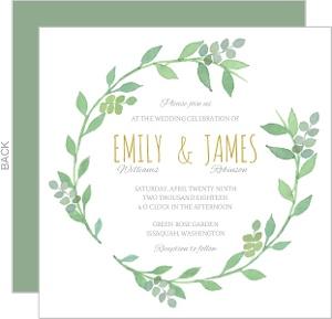 Greenery Wreath Watercolor Wedding Invitation