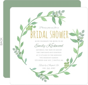 Greenery Wreath Watercolor Bridal Shower