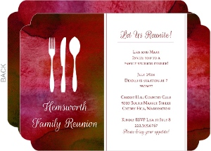 Red Watercolor Place Setting Reunion Invitation