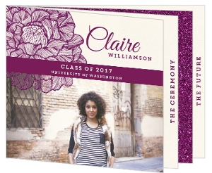 Plum Shimmering Florals Graduation Booklet Invitation