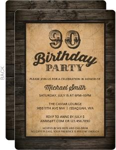 Antique Woodgrain 90th Birthday Invitation