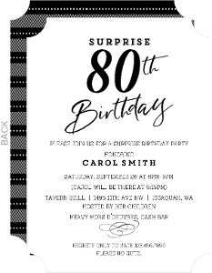 Classic Black & White 80th Birthday Invitation