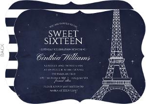 Whimsical Paris Night Birthday Invitation