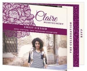 Elegant Faux Glitter Sweet Sixteen Booklet Invitation