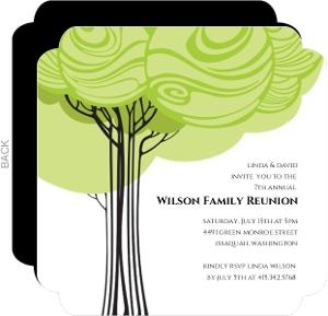 Green Family Tree Reunion Invitation