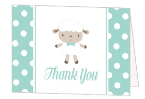 Minty Polkadot Sheep Baby Shower Thank You Card
