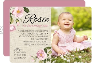 Pink Burlap Floral First Birthday Invitation