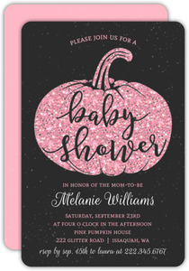 Faux Pink Glitter Baby Shower Invitation