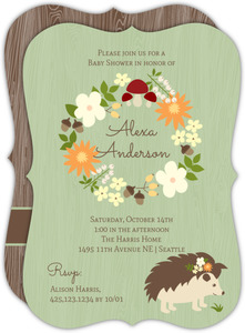Hedgehog Wreath Baby Shower Invitation