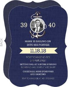 Blue Sailing 40th Birthday Invitation