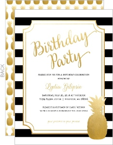 Modern Chic Pineapple Stripes Birthday Party Invitation