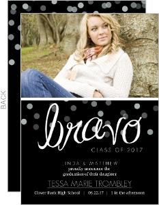 Black Bravo Confetti Graduation Invitation