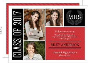Black Red School Color Monogram Seal Graduation Announcement
