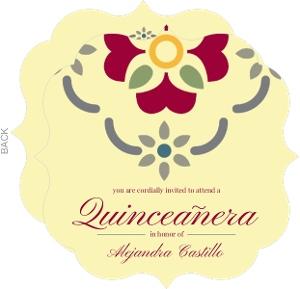 Cream and Red Spanish Tile Quinceanera Invitation