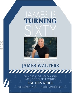 Blue & White Stripes 60th Birthday Party Invitation