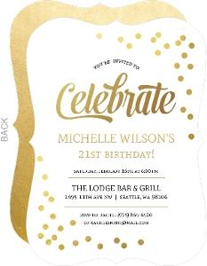 Faux Gold Foil Confetti 21st Birthday Invitation