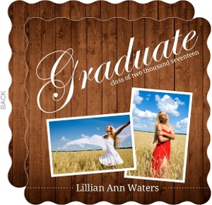 Picture Perfect Wood Grain Graduation Announcement