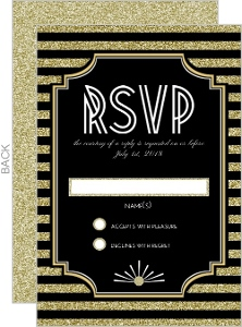 Gatsby Gold Faux Glitter Wedding Response Card