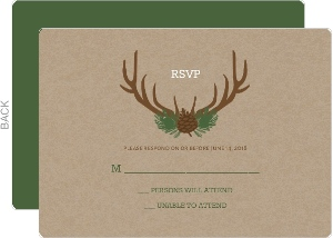 Brown Rustic Antlers Wedding Response Card