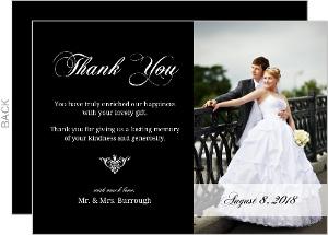 Elegant White Monogram Thank You Card