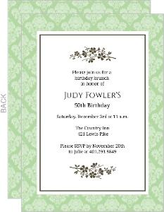 Simple Elegant Flower 50th Birthday Invitation