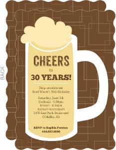 Brown Beers Cheers Birthday Invitations