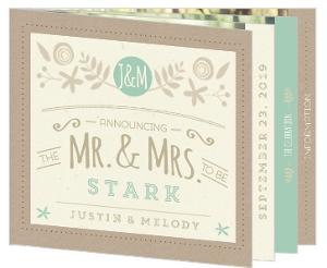 Mint & Kraft Wedding Booklet Invitation