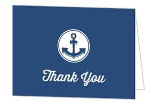 Nautical Blue Sailor Boy Baby Shower Thank You Card