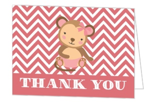 Pink Little Monkey Baby Shower Thank You Card