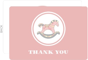 Pink Rocking Horse Baby Shower Thank You Card