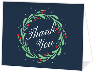 Cute Mistletoe Wreath Holiday Thank You Cad