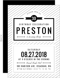 Modern Stripes 30th Birthday Party Invitation