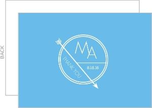 Modern Circle and Arrow Monogram Wedding Thank You Card