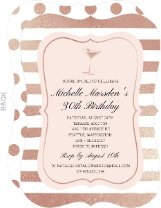 Faux Rose Gold Cocktail Birthday Party Invitation