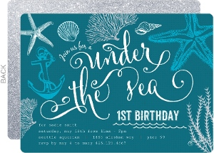 Turquoise Ocean First Birthday Invitation